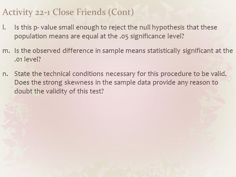 Activity 22-1 Close Friends (Cont)