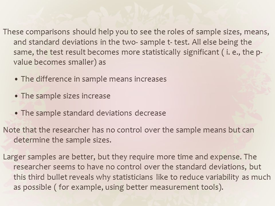 These comparisons should help you to see the roles of sample sizes, means, and standard deviations in the two- sample t- test.