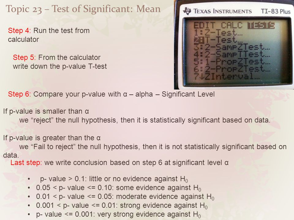 Topic 23 – Test of Significant: Mean