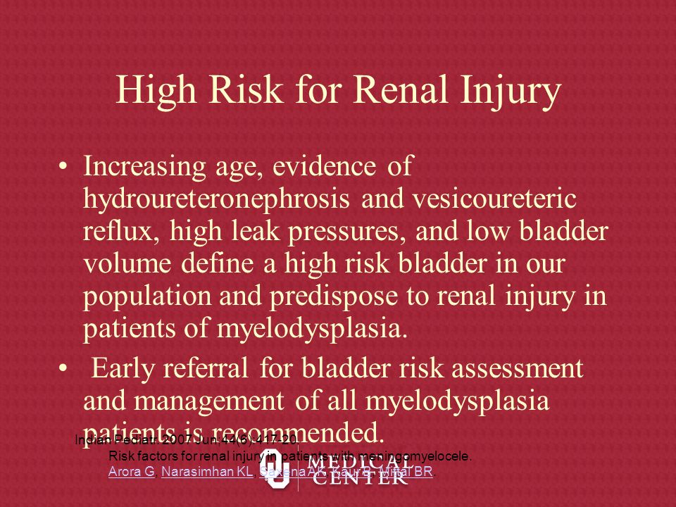 High Risk for Renal Injury