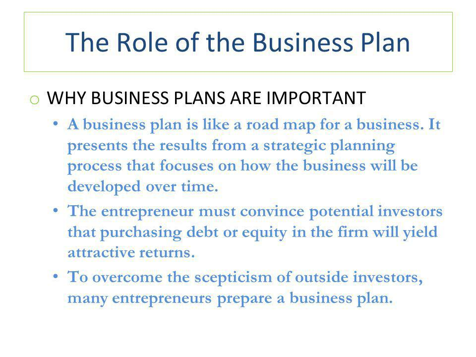 The Role of the Business Plan