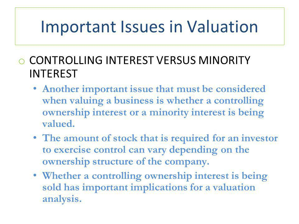 Important Issues in Valuation