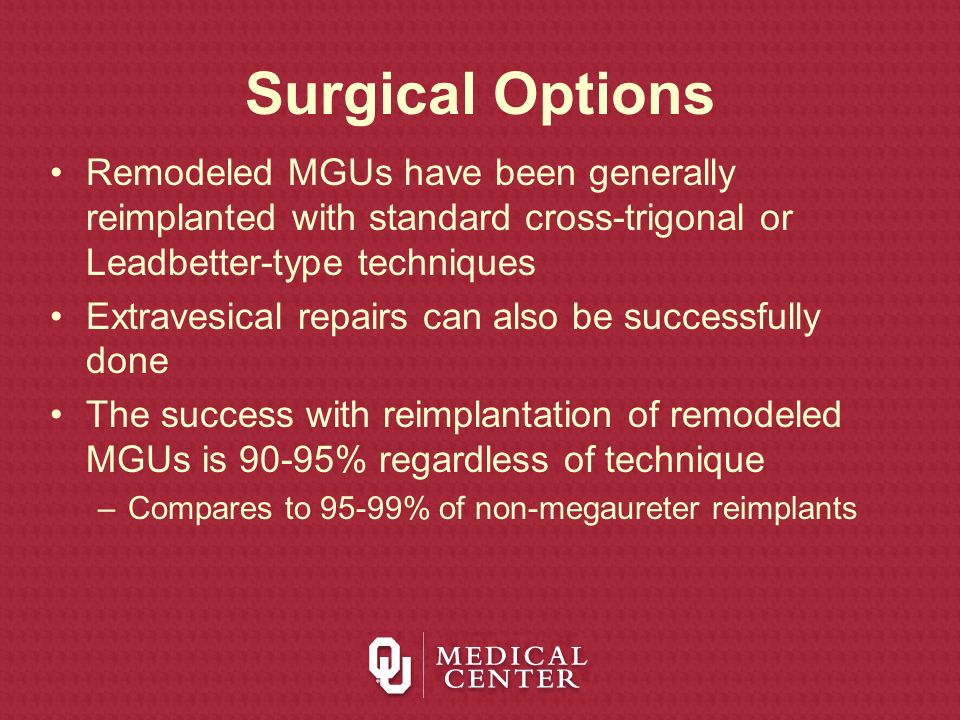 Surgical OptionsRemodeled MGUs have been generally reimplanted with standard cross-trigonal or Leadbetter-type techniques.