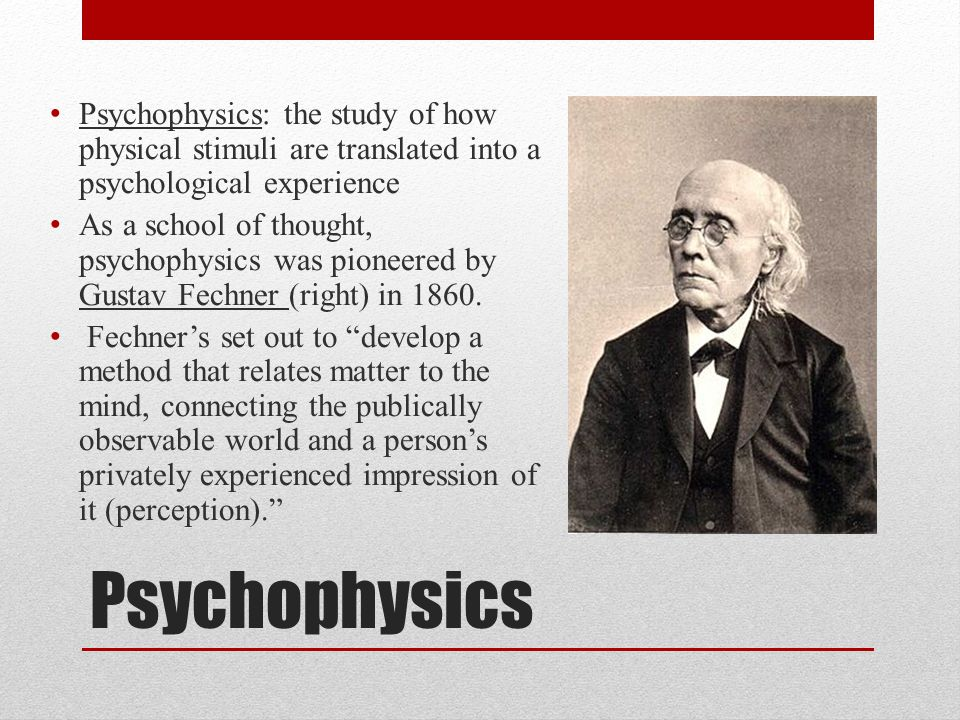 Psychophysics: the study of how physical stimuli are translated into a psychological experience