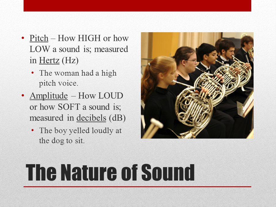 Pitch – How HIGH or how LOW a sound is; measured in Hertz (Hz)