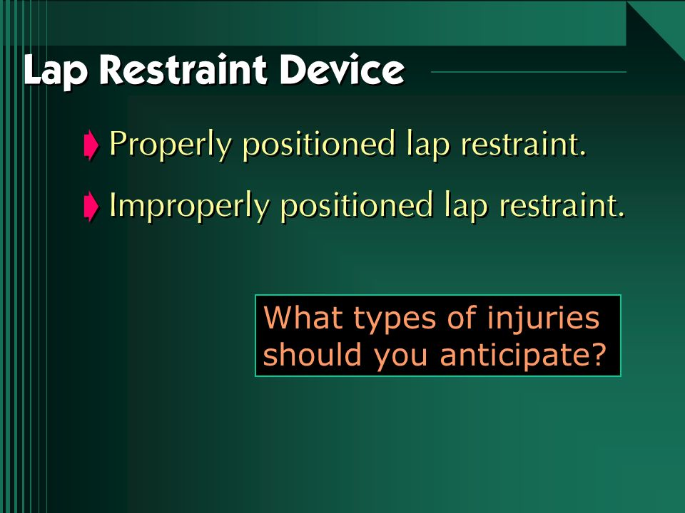 Lap Restraint Device Properly positioned lap restraint.