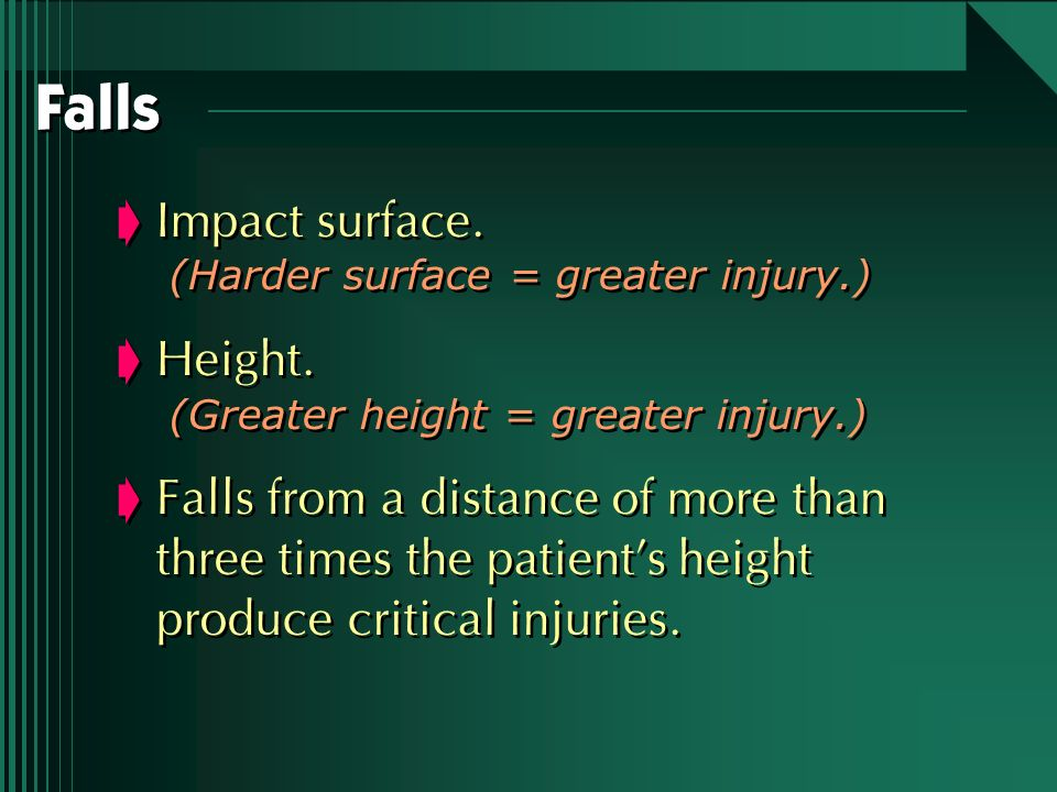Falls Impact surface. Height.