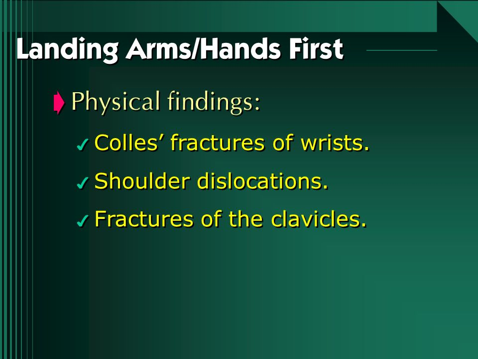 Landing Arms/Hands First