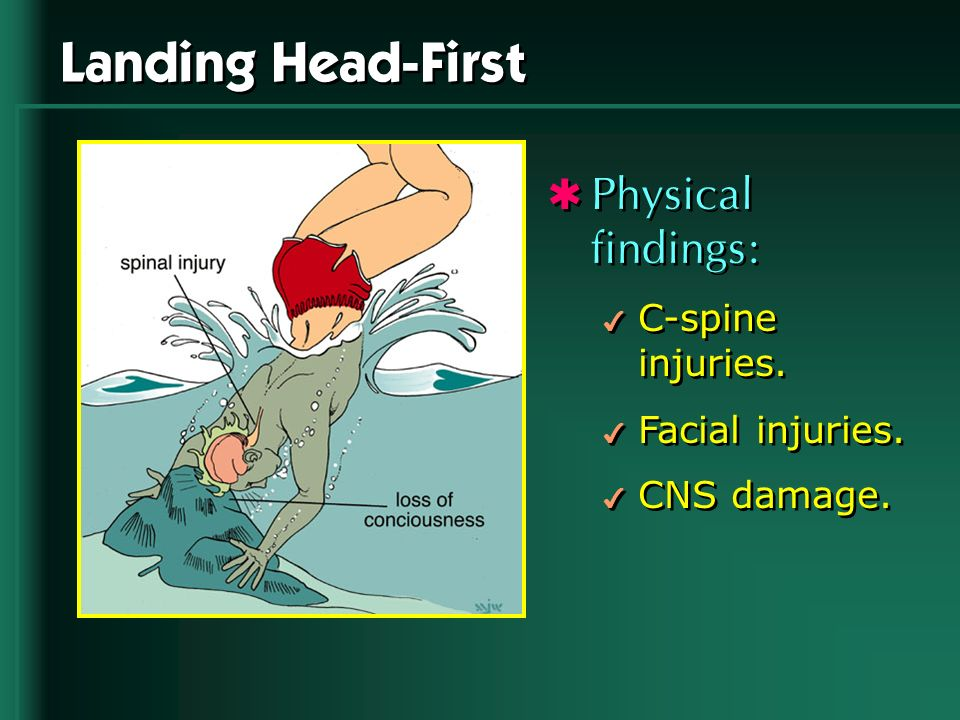 Landing Head-First Physical findings: C-spine injuries.