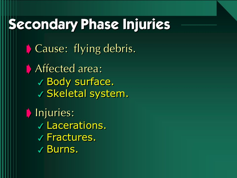 Secondary Phase Injuries