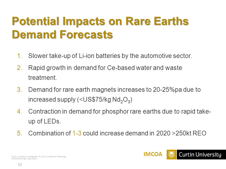 Potential Impacts on Rare Earths Demand Forecasts