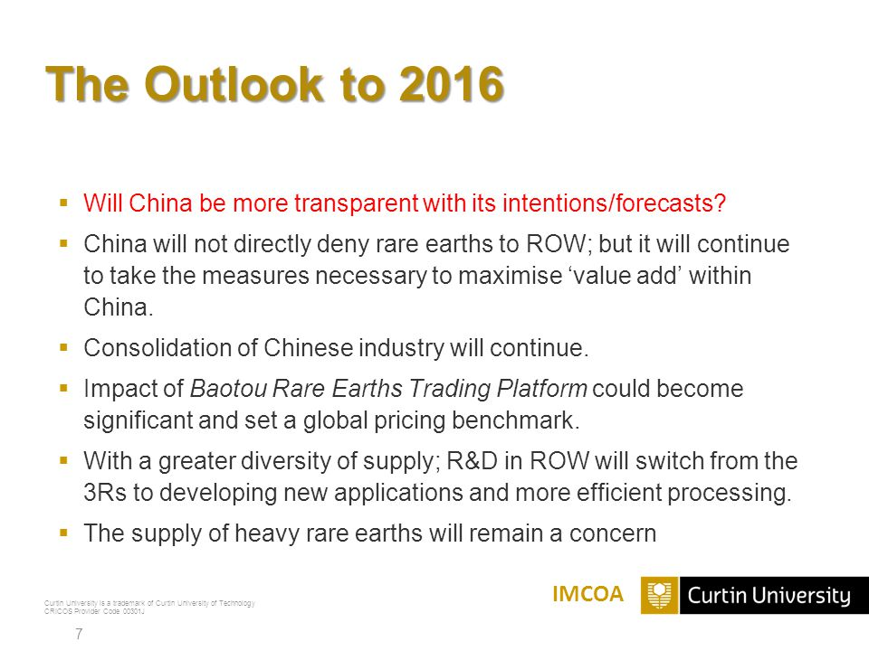 The Outlook to 2016 Will China be more transparent with its intentions/forecasts