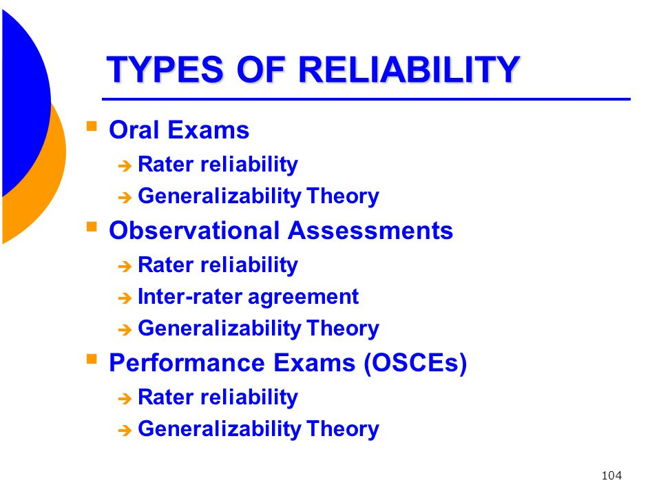 TYPES OF RELIABILITY Oral Exams Observational Assessments