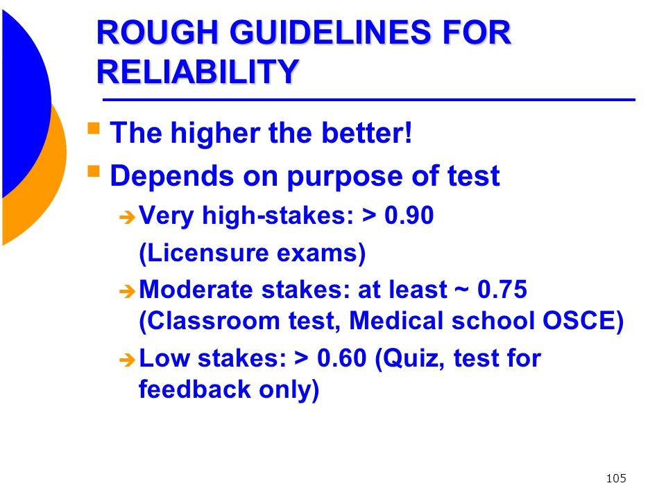 ROUGH GUIDELINES FOR RELIABILITY