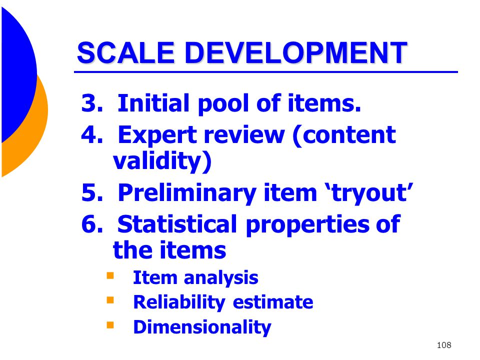 SCALE DEVELOPMENT 3. Initial pool of items.