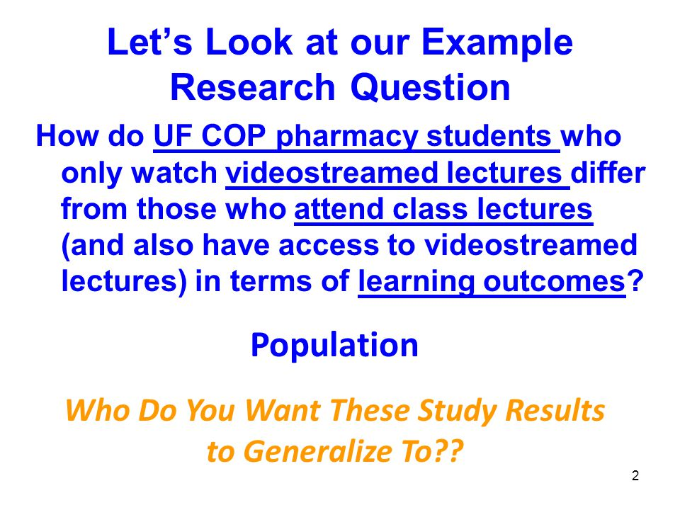 Let's Look at our Example Research Question