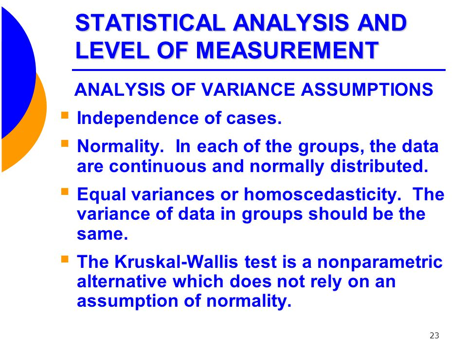 STATISTICAL ANALYSIS AND LEVEL OF MEASUREMENT