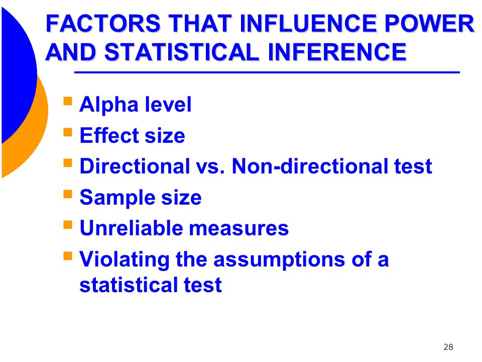 FACTORS THAT INFLUENCE POWER AND STATISTICAL INFERENCE