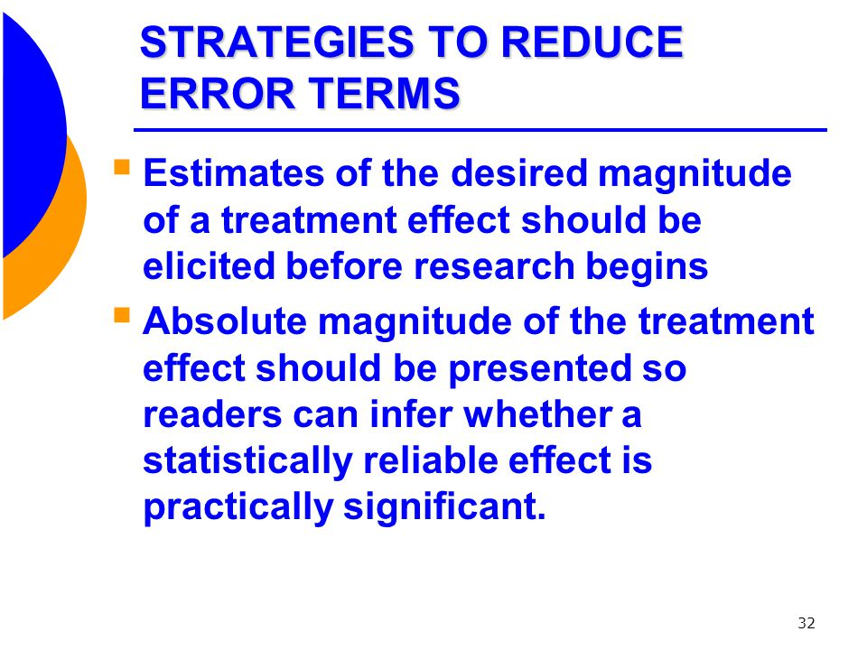 STRATEGIES TO REDUCE ERROR TERMS