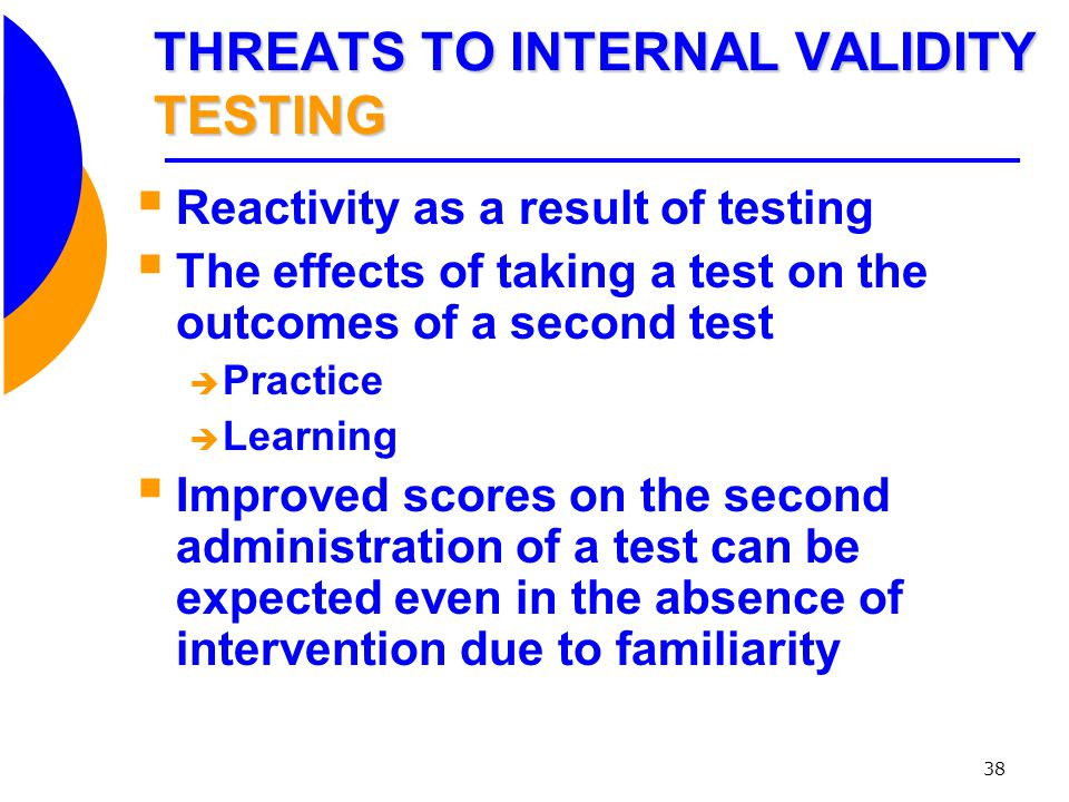 THREATS TO INTERNAL VALIDITY TESTING
