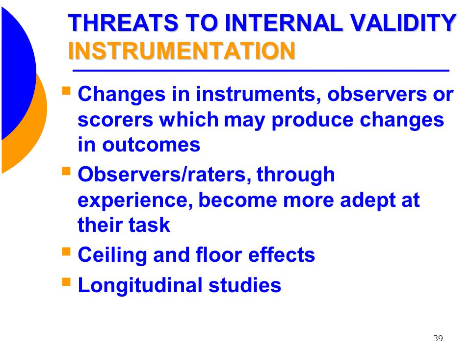 THREATS TO INTERNAL VALIDITY INSTRUMENTATION