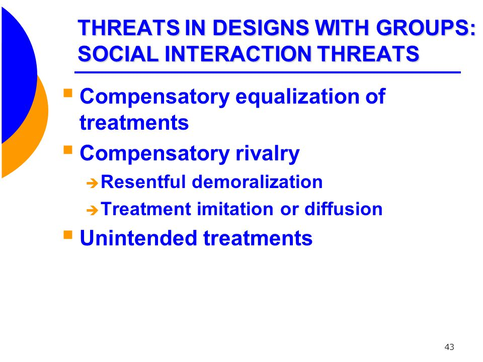 THREATS IN DESIGNS WITH GROUPS: SOCIAL INTERACTION THREATS