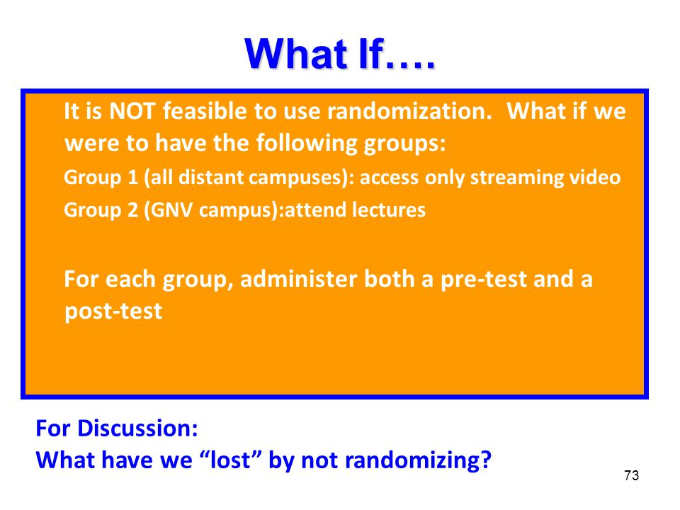 What If…. It is NOT feasible to use randomization. What if we were to have the following groups: