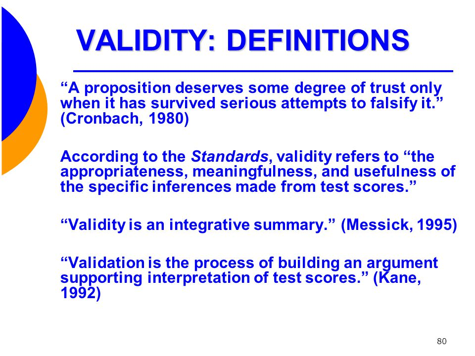 VALIDITY: DEFINITIONS