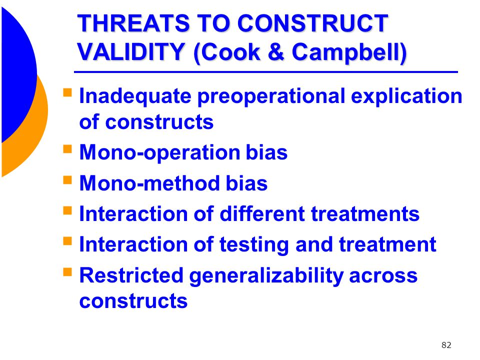 THREATS TO CONSTRUCT VALIDITY (Cook & Campbell)