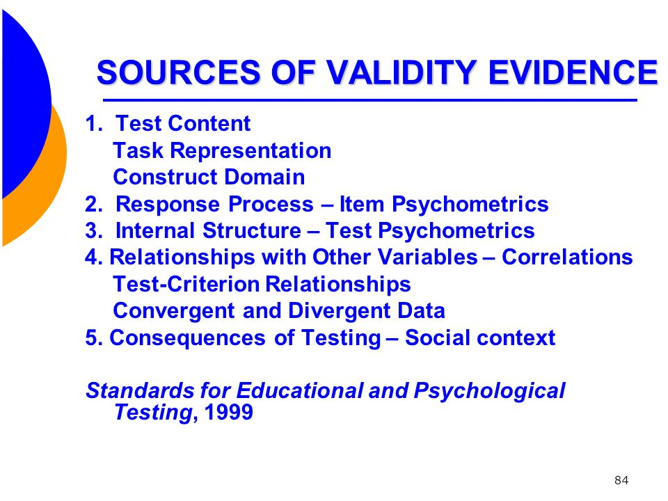 SOURCES OF VALIDITY EVIDENCE