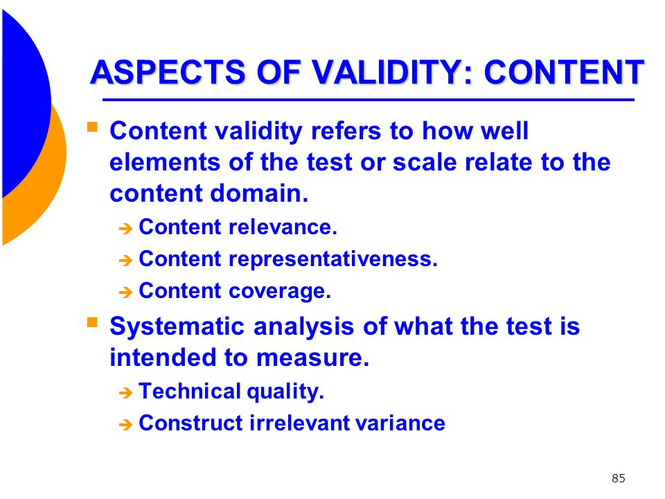 ASPECTS OF VALIDITY: CONTENT