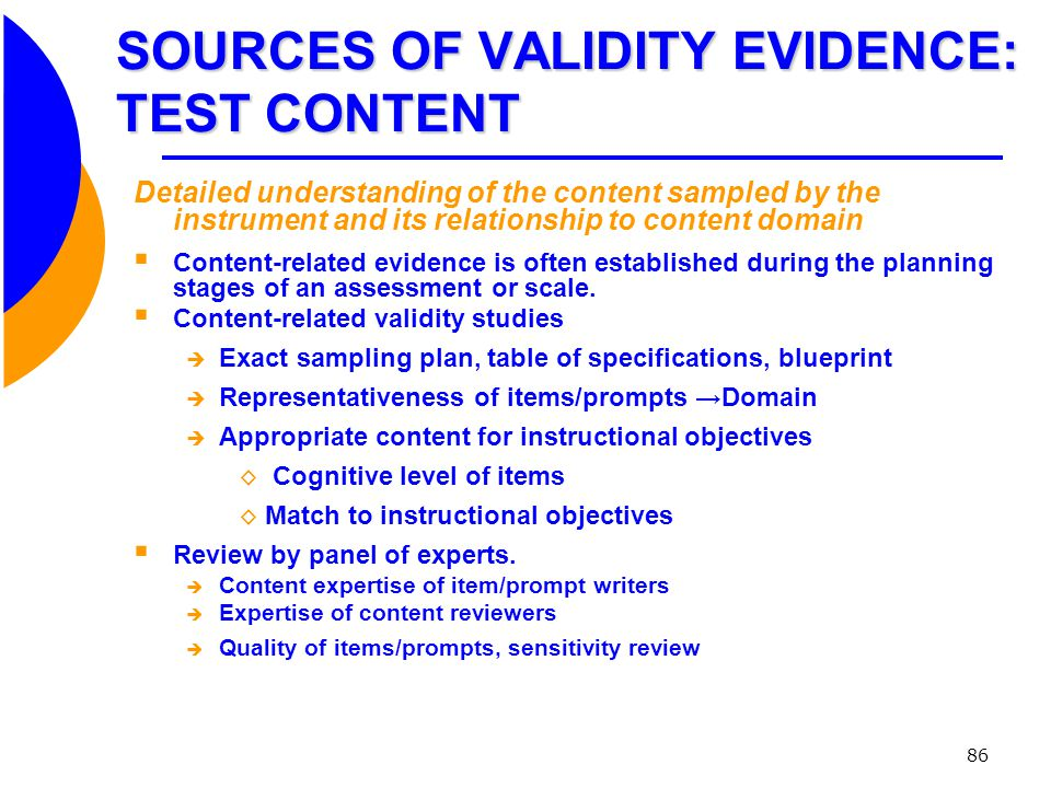 SOURCES OF VALIDITY EVIDENCE: TEST CONTENT