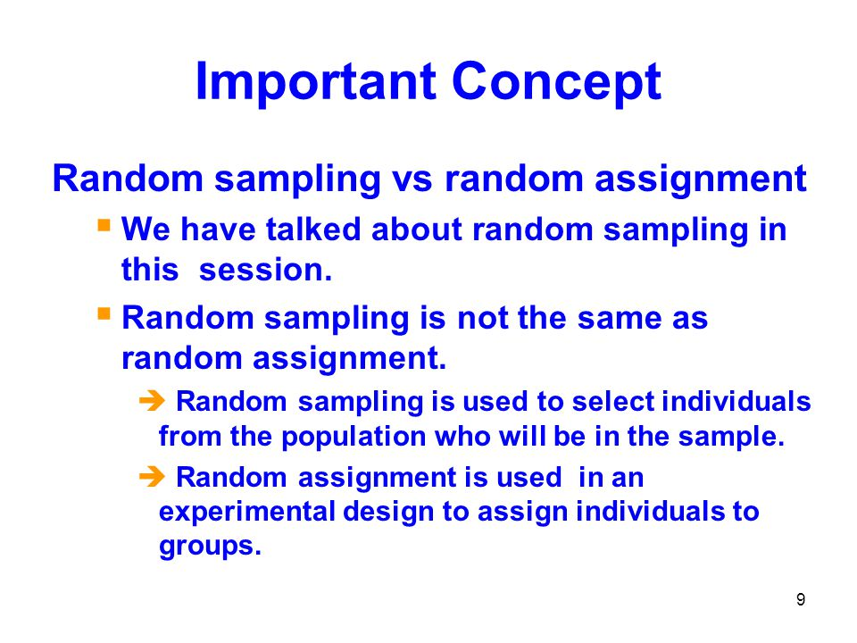 Important Concept Random sampling vs random assignment