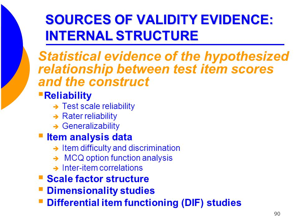 SOURCES OF VALIDITY EVIDENCE: INTERNAL STRUCTURE