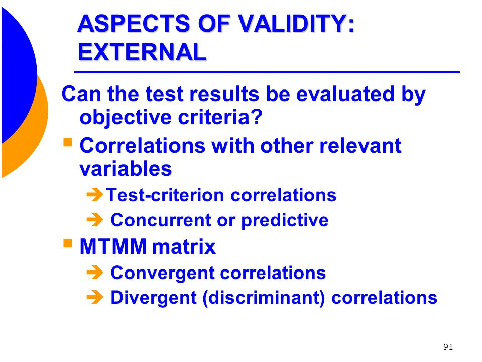 ASPECTS OF VALIDITY: EXTERNAL