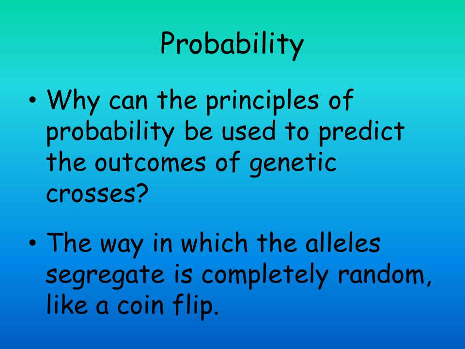 Probability Why can the principles of probability be used to predict the outcomes of genetic crosses