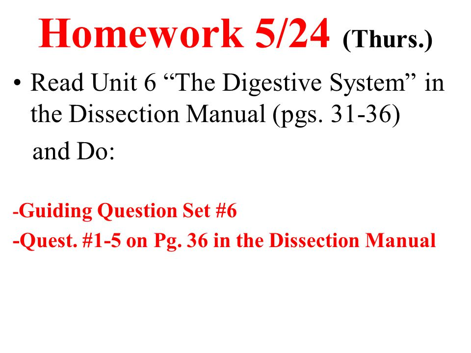 Homework 5/24 (Thurs.) Read Unit 6 The Digestive System in the Dissection Manual (pgs. 31-36) and Do: