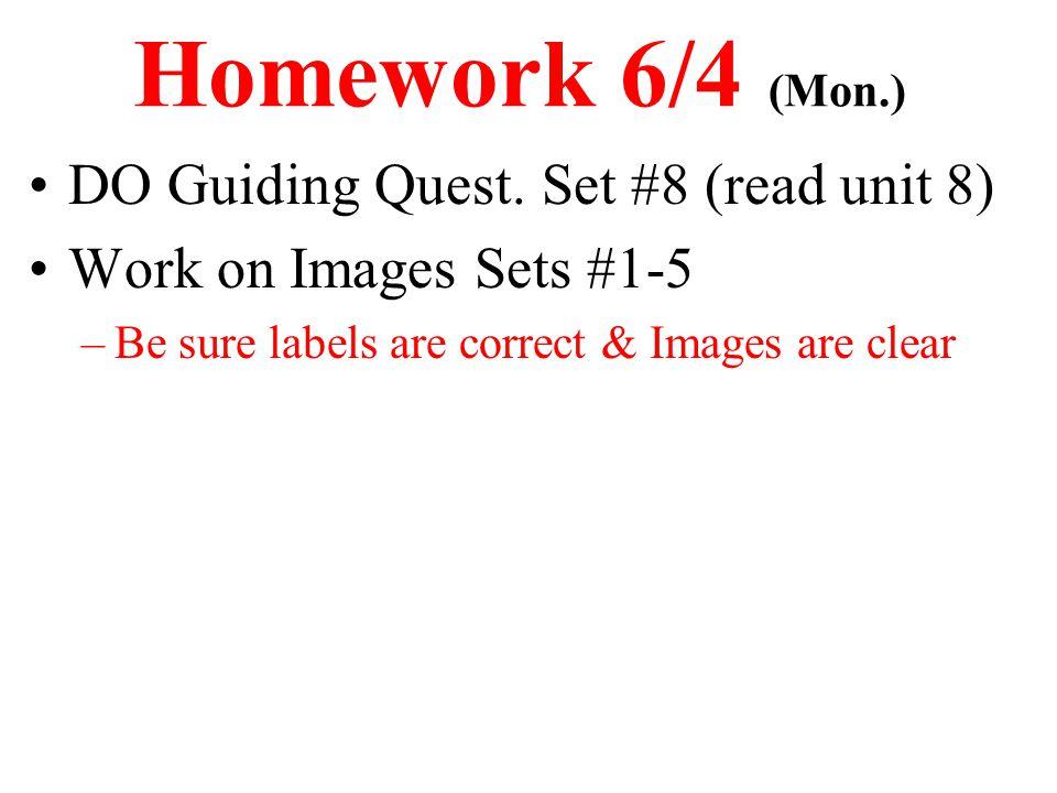Homework 6/4 (Mon.) DO Guiding Quest. Set #8 (read unit 8)