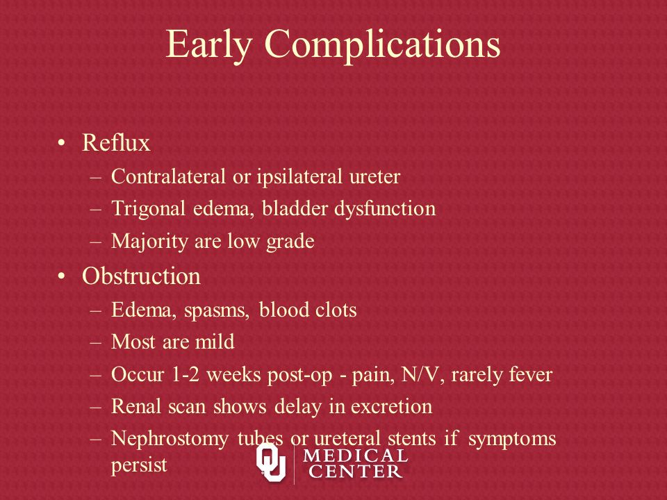 Early Complications Reflux Obstruction