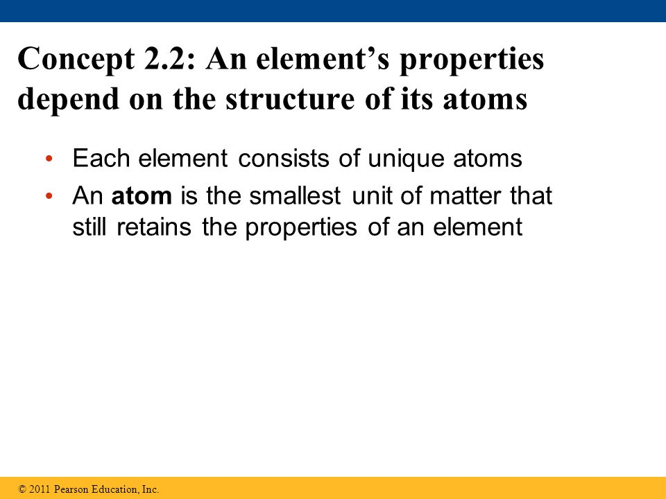 Concept 2.2: An element's properties depend on the structure of its atoms