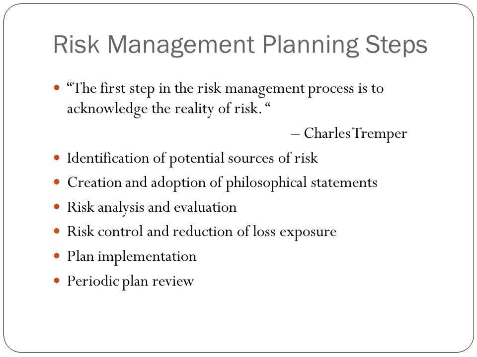 4 steps in the management control process Risk management steps   step 4 - control the risks  it is essential that supervisors and managers consult with workers directly involved in the process.