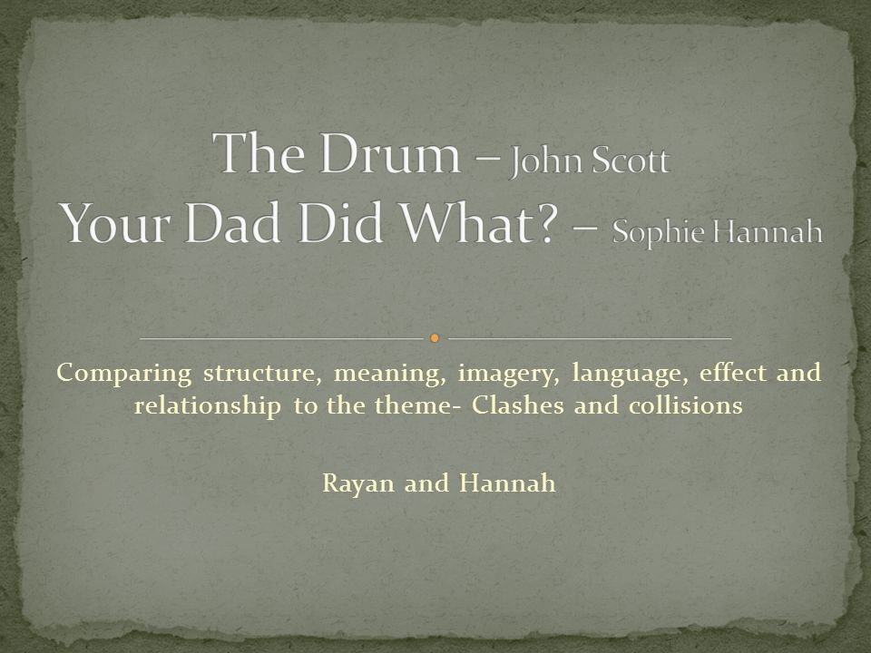 The Drum – John Scott Your Dad Did What – Sophie Hannah