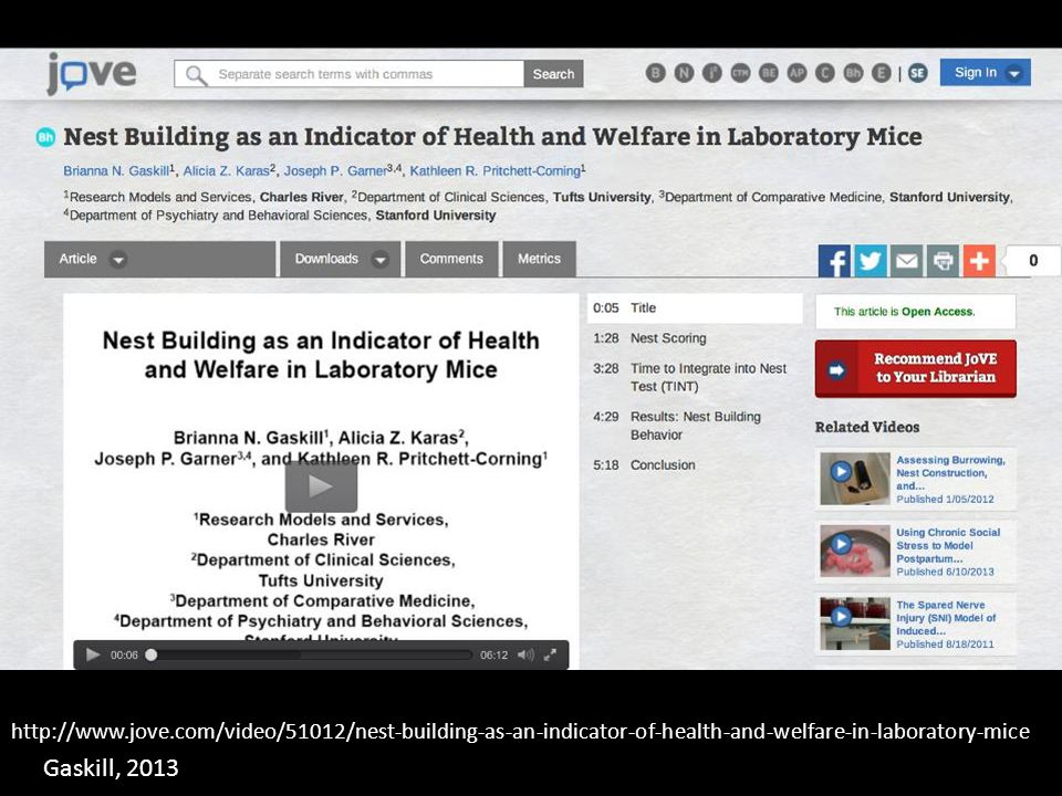 http://www.jove.com/video/51012/nest-building-as-an-indicator-of-health-and-welfare-in-laboratory-mice