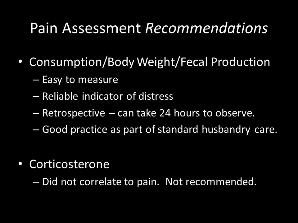 Pain Assessment Recommendations
