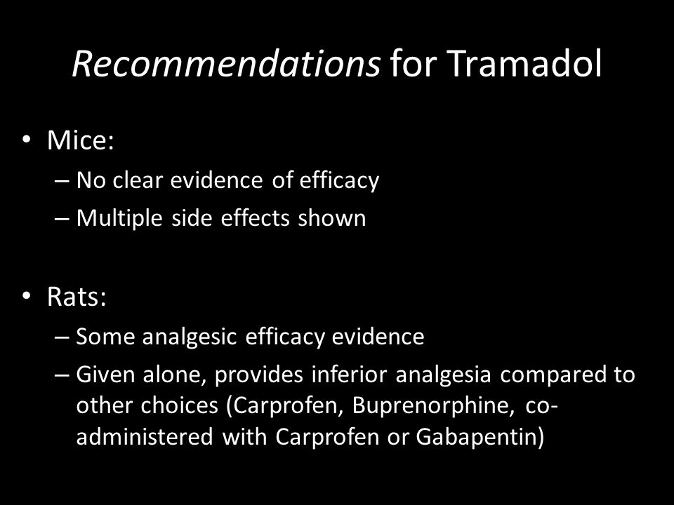 Recommendations for Tramadol