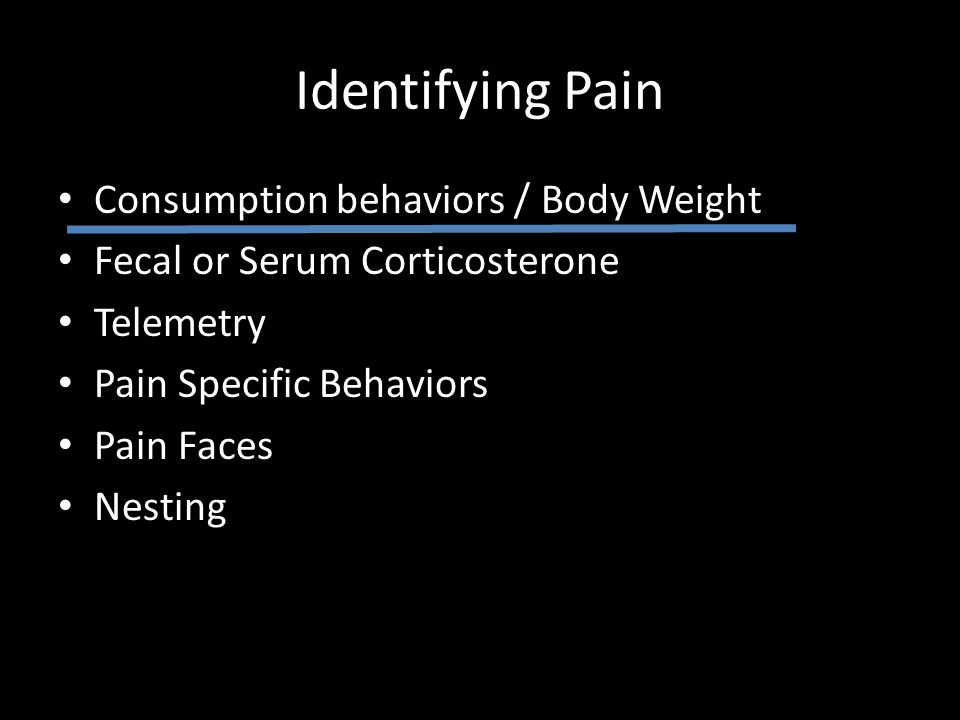 Identifying Pain Consumption behaviors / Body Weight