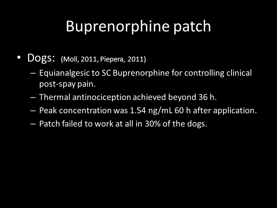 Buprenorphine patch Dogs: (Moll, 2011, Piepera, 2011)