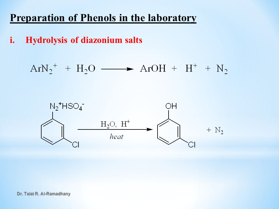 Preparation of Phenols in the laboratory