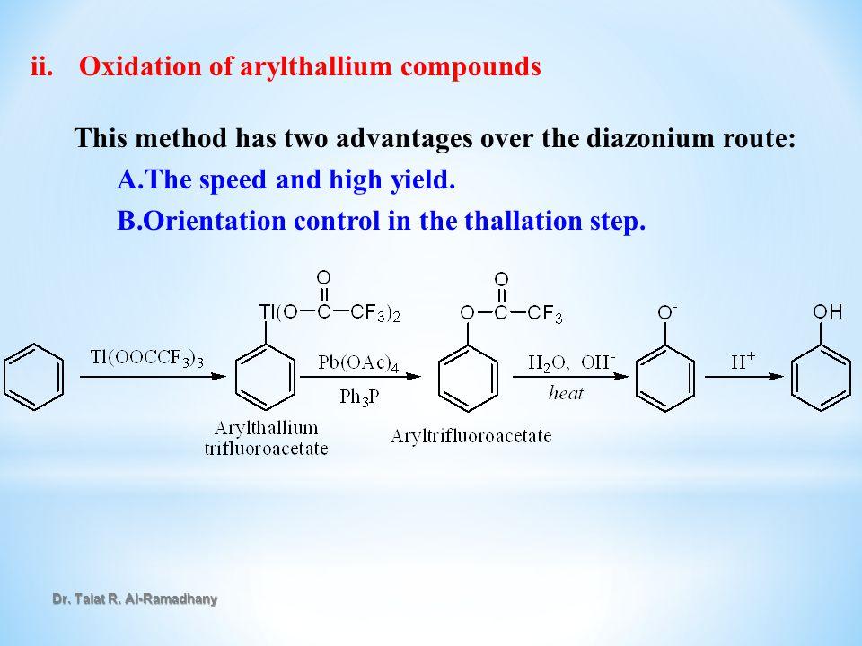 Oxidation of arylthallium compounds