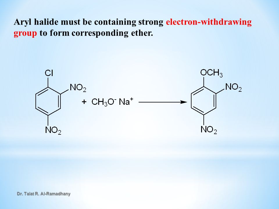 Aryl halide must be containing strong electron-withdrawing group to form corresponding ether.
